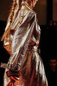 View 2. Gold python trenchcoat