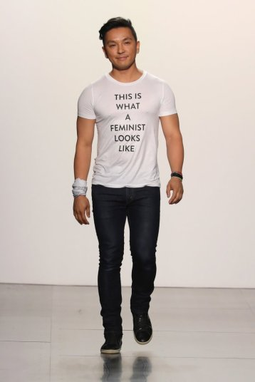 "Designer Prabal Gurung closed his show wearing a white bandana around his wrist, and a T-shirt that read ""This is what a feminist looks like."" Photo: Yannis Vlamos"
